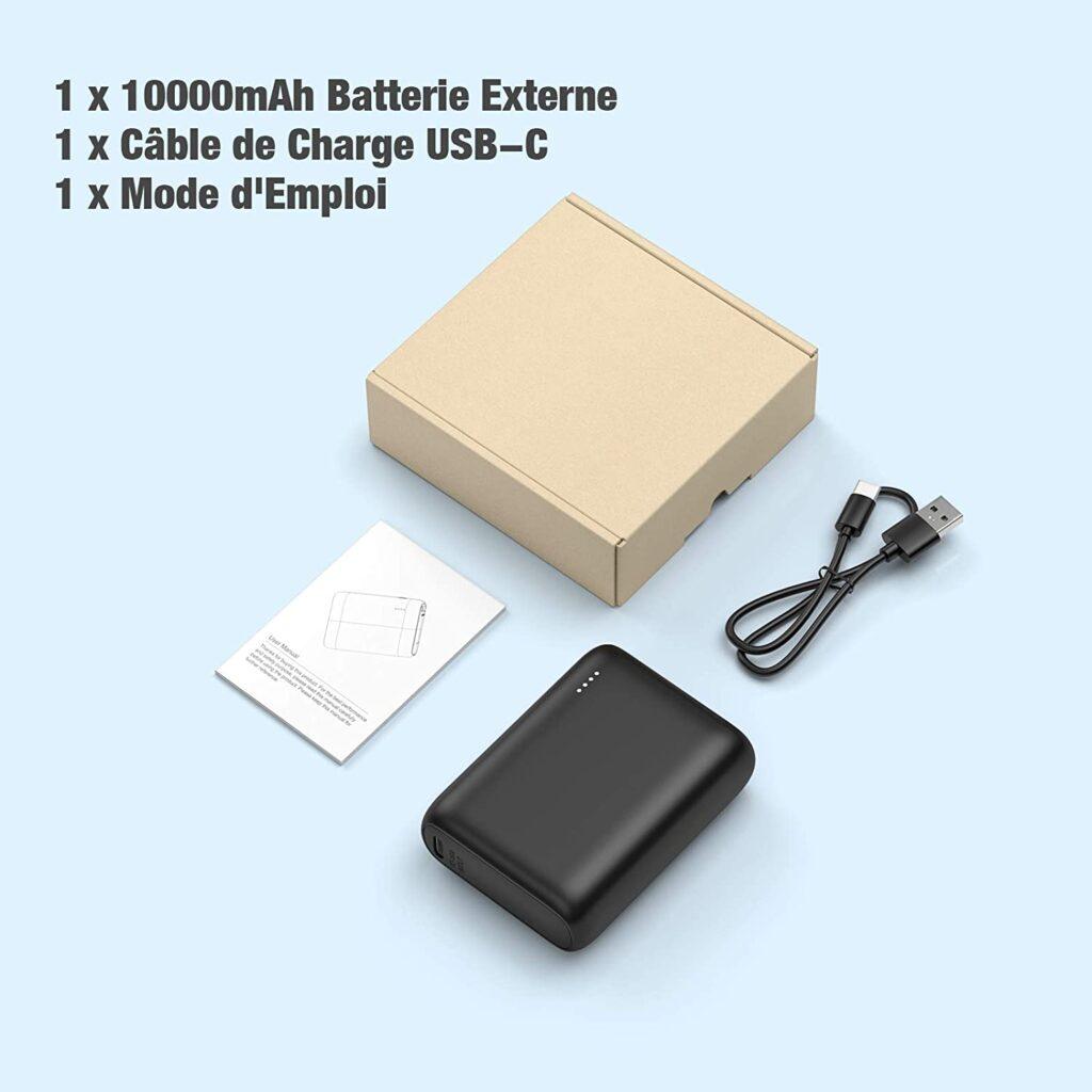 Batterie externe 10000mAh PD Bidirectionnel câble et emballage