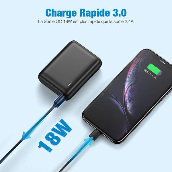 Batterie externe 10000mAh PD Bidirectionnel charge un iphone rapidement