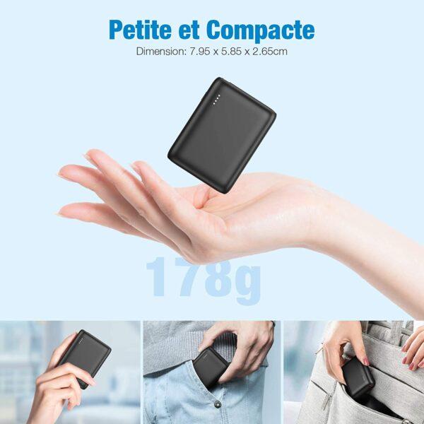 Batterie externe 10000mAh PD Bidirectionnel petite et compacte