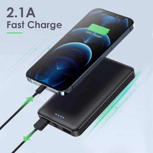 Batterie externe 10000mAh Pack de 2 charge rapide 2.1A