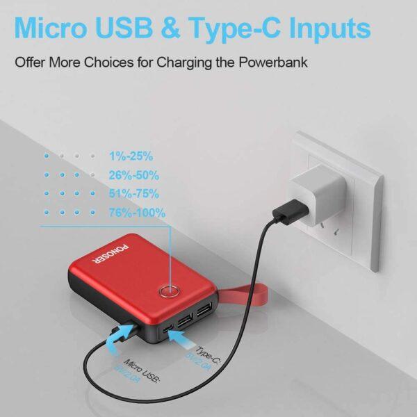 Batterie externe 10000mAh Ponoser Micro USB et Type C entrée