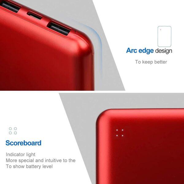 Batterie externe 10 000 mAh Posugear Rouge design soft
