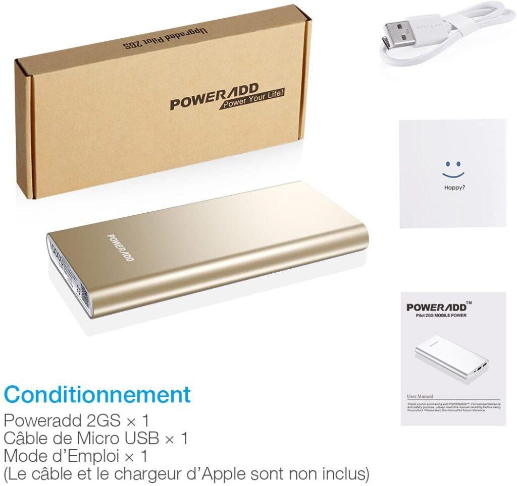 Batterie externe 10000mAh Poweradd dorée accessoires