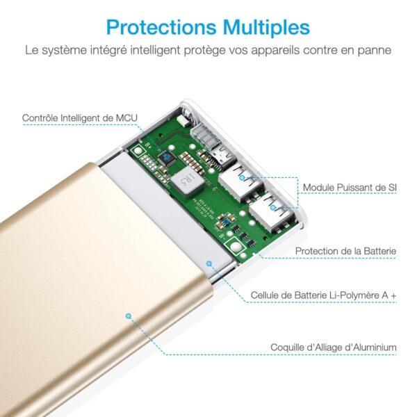 Batterie externe 10000mAh Poweradd dorée protections