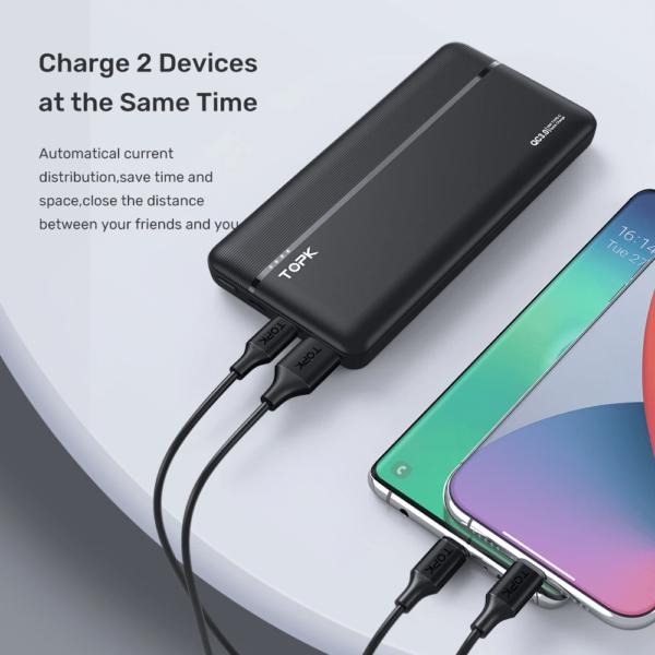 Batterie externe 10000mAh QC et PD 2 téléphones
