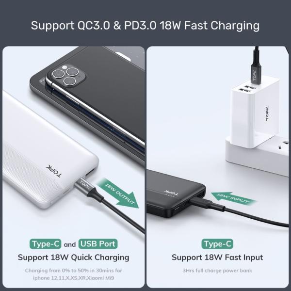 Batterie externe 10000mAh QC et PD charge rapide