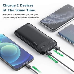 Batterie externe 10000mAh TOPK 2 smartphone en meme temps