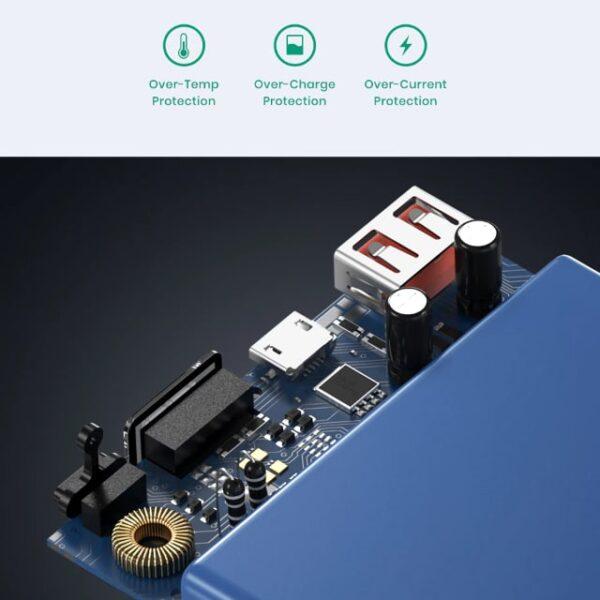 Batterie externe 10000 mAh TOPK Bleue protection