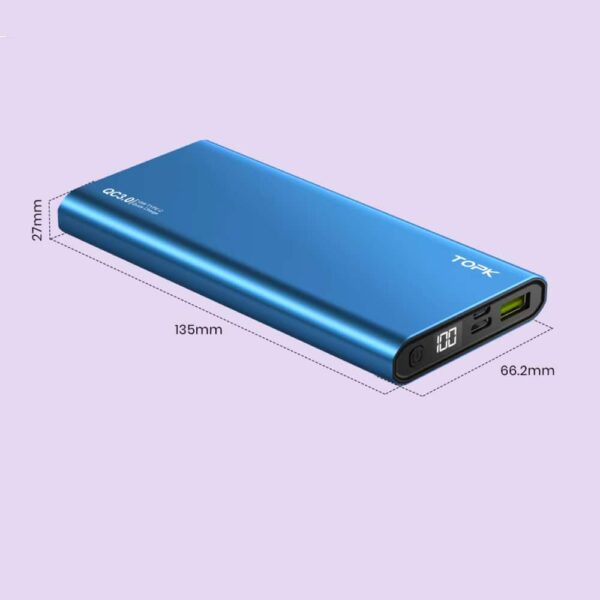Batterie externe 10000 mAh TOPK Bleue taille
