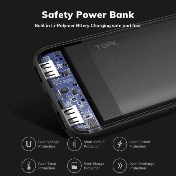 Batterie externe 10000mAh TOPK charge sécurisée