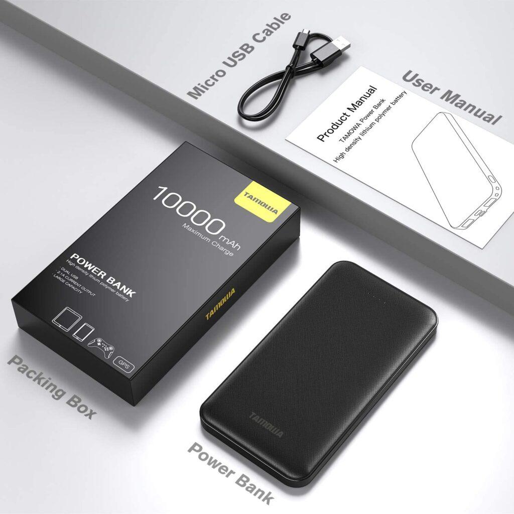 Batterie externe 10000mAh Tamowa câble USB