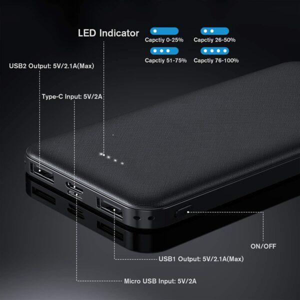 Batterie externe 10000mAh Tamowa ports USB et LED