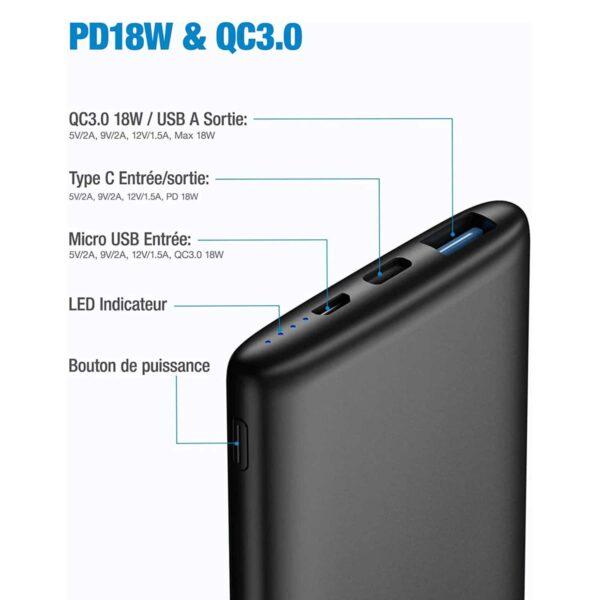 Batterie externe 10000mAh Ultra Mince caractéristiques