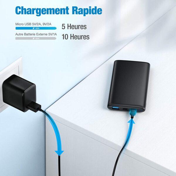 Batterie externe 10000mAh Ultra Mince chargement rapide