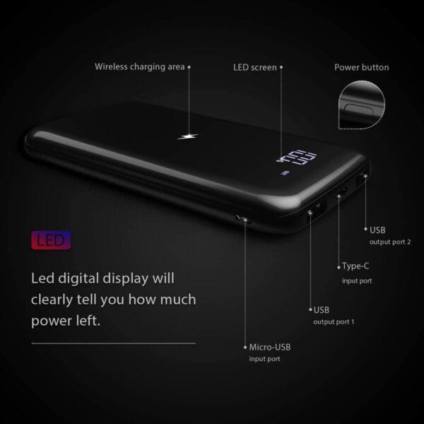 Batterie externe 10000mAh à induction caractéristiques