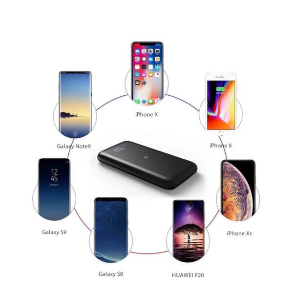 Batterie externe 10000mAh à induction grande compatibilité