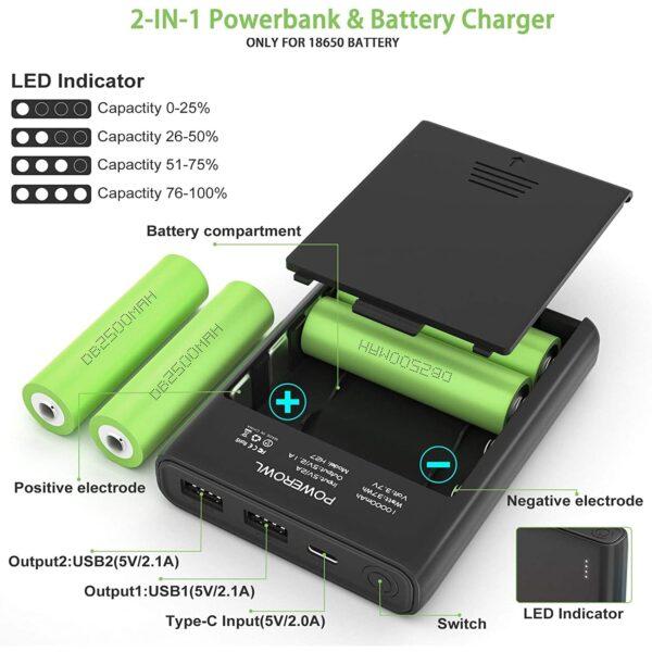 Batterie externe 10000mAh avec des Piles 2 en 1