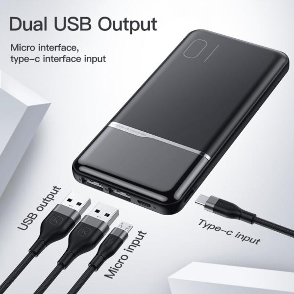 Batterie externe 10000mAh avec pourcentage 4 ports USB