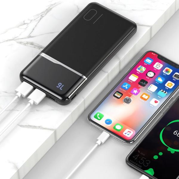 Batterie externe 10000mAh avec pourcentage charge 2 appareils