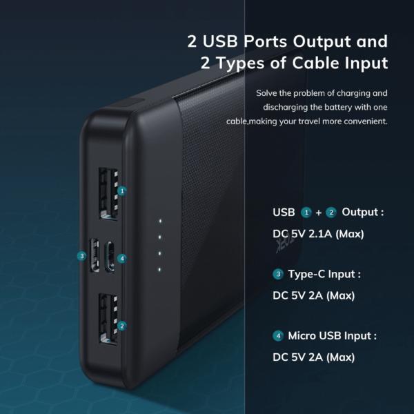 Batterie externe 10000mAh avec support nombre de ports