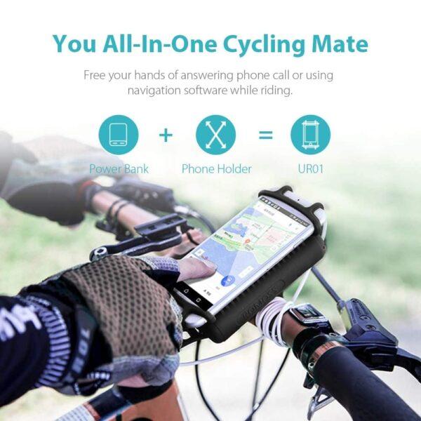 Batterie externe 10000mAh avec support vélo tout en un