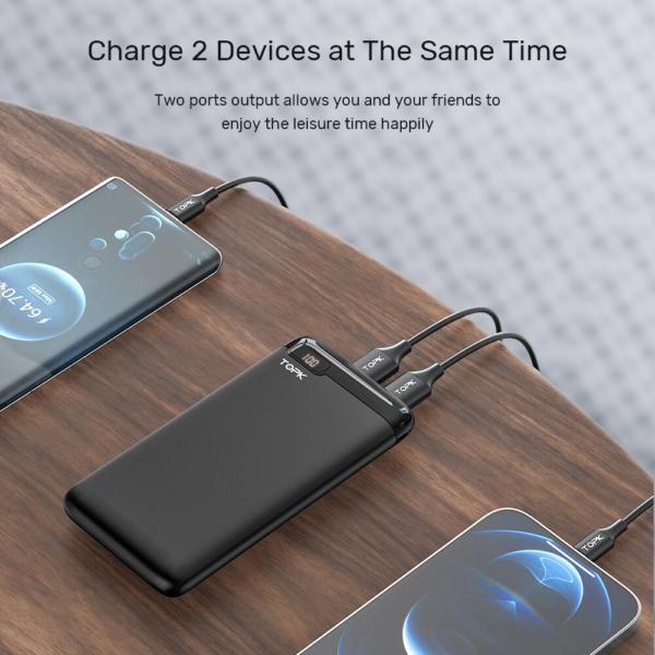 Batterie externe 10000mAh fine et petite 2 appareils
