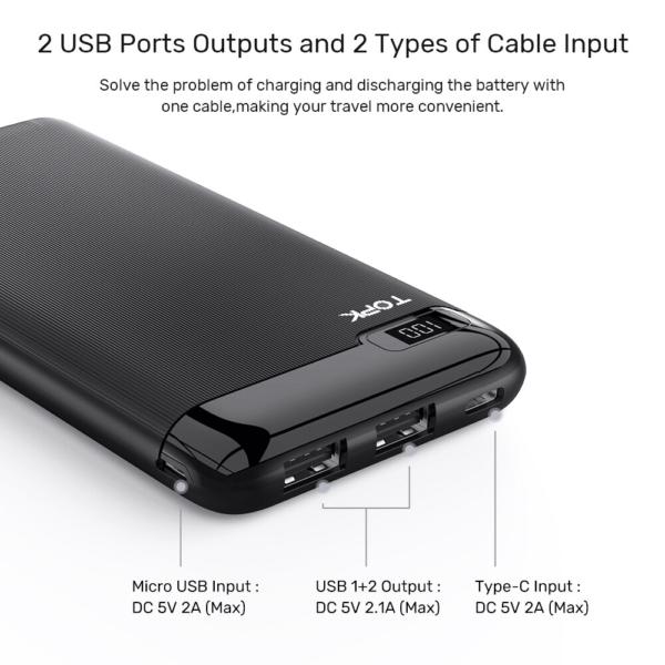 Batterie externe 10000 mAh fine et petite ports usb