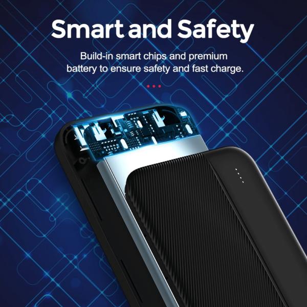 Batterie externe noire 10 000 mAh intelligente et securisée