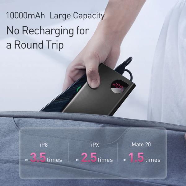 Batterie externe 10000mAh Baseus recharge plusieurs fois un mobile