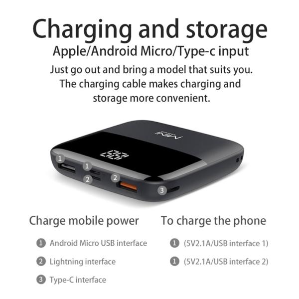 Batterie externe 10000mAh Caseier caractéristiques