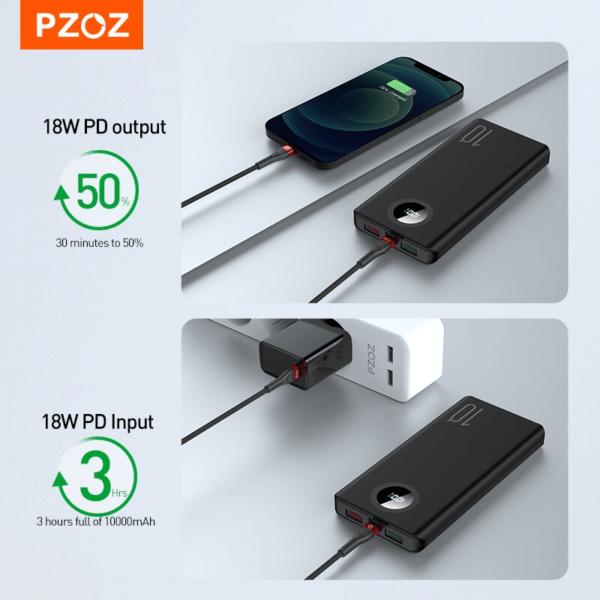 Batterie externe 10000mAh PZOZ 30 MIN ET 3 HEURES