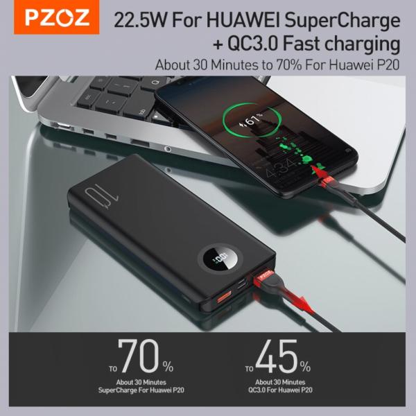 Batterie externe 10000mAh PZOZ 70 % et 45%