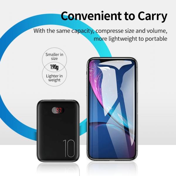 Batterie externe 10000mAh Usams taille convenable