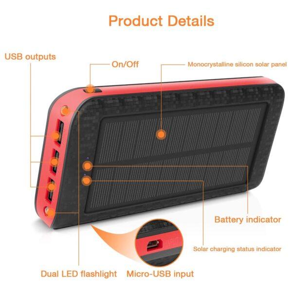 Batterie externe solaire 25000mAh AMAES details du produit