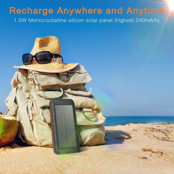 Batterie externe solaire 25000mAh AMAES recharge au soleil