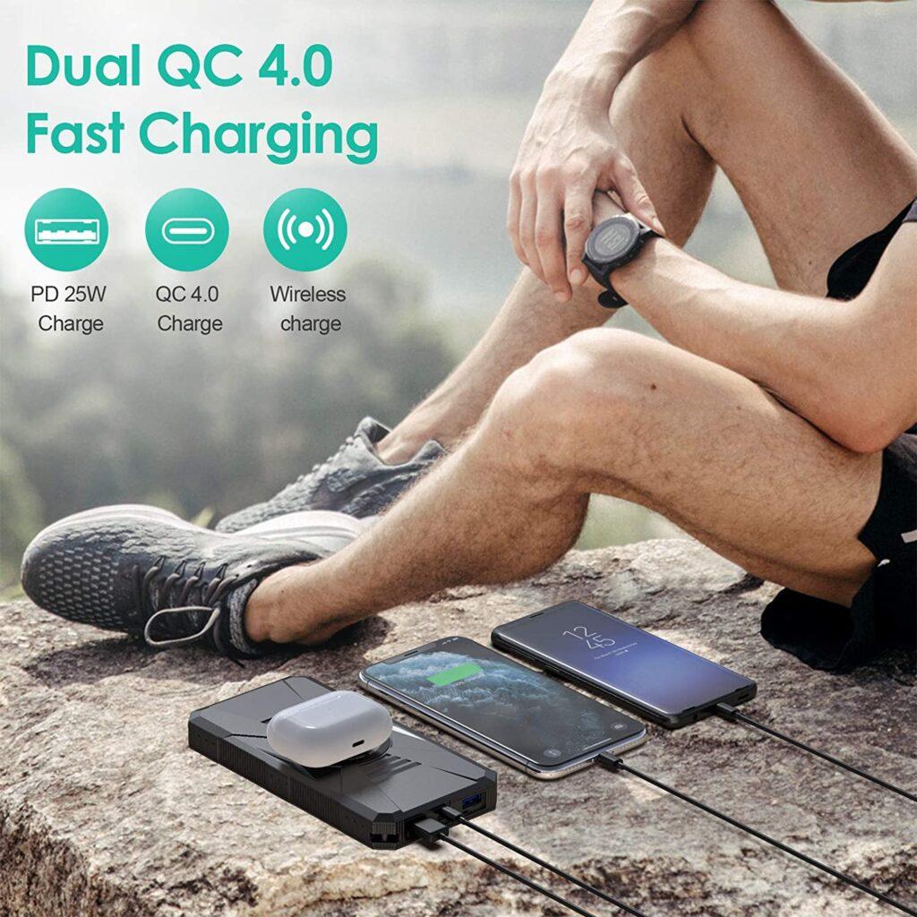 Batterie externe solaire HETP Dual QC 4.0