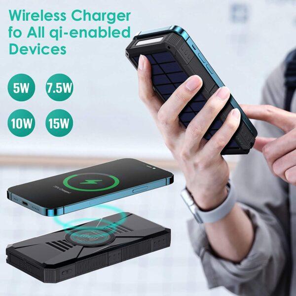 Batterie externe solaire HETP charge sans fil