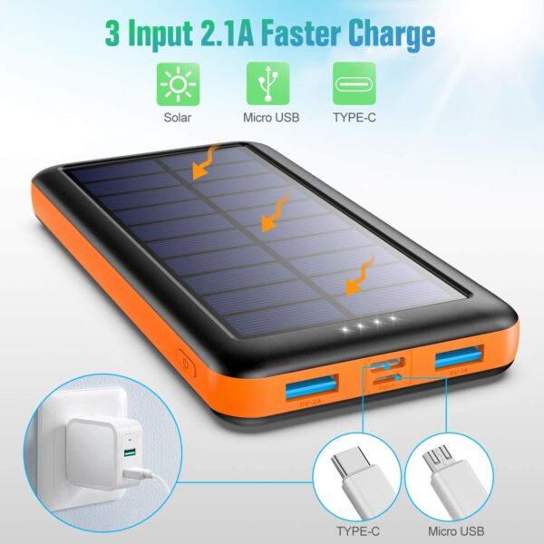 Batterie externe solaire Pxwaxpy charge avec le soleil