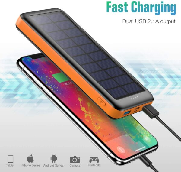 Batterie externe solaire Pxwaxpy charge rapide