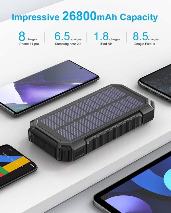 Batterie externe solaire Riapow grande capacité