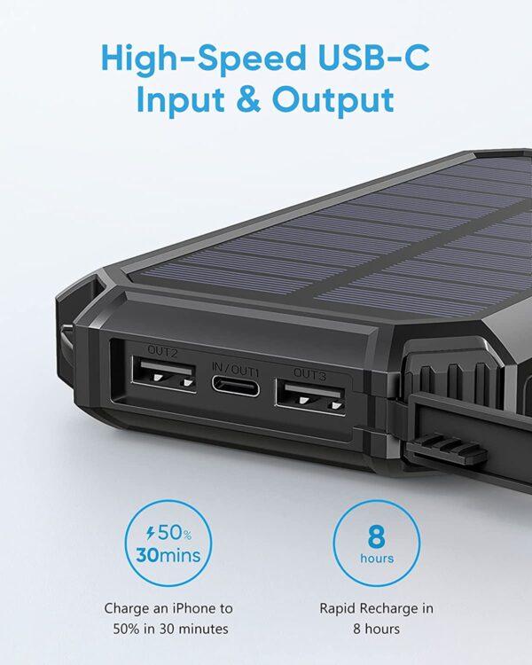 Batterie externe solaire Riapow usb c charge rapide