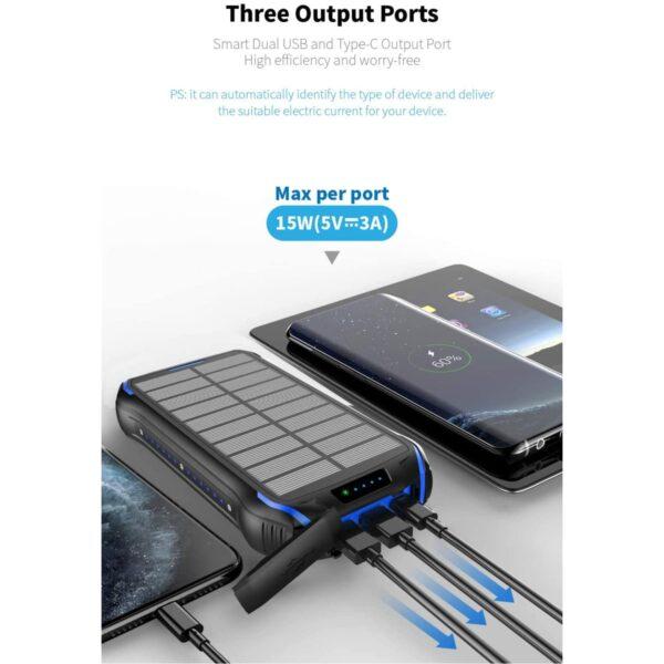 Batterie externe solaire Soluser trois port de sorties