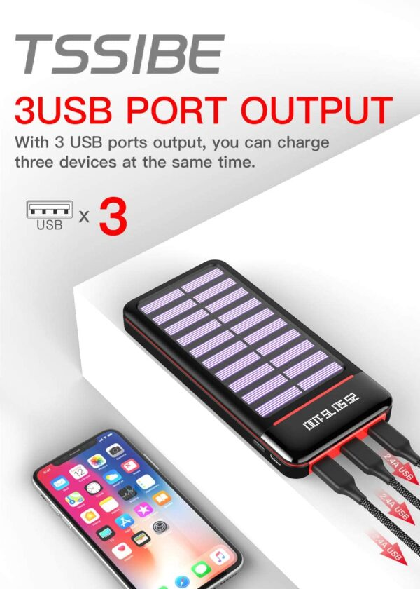 Batterie externe solaire TSSIBE 3 sorties USB