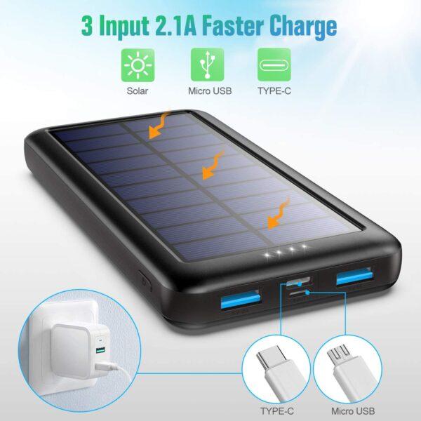 Batterie externe solaire Trswyop 3 entrées
