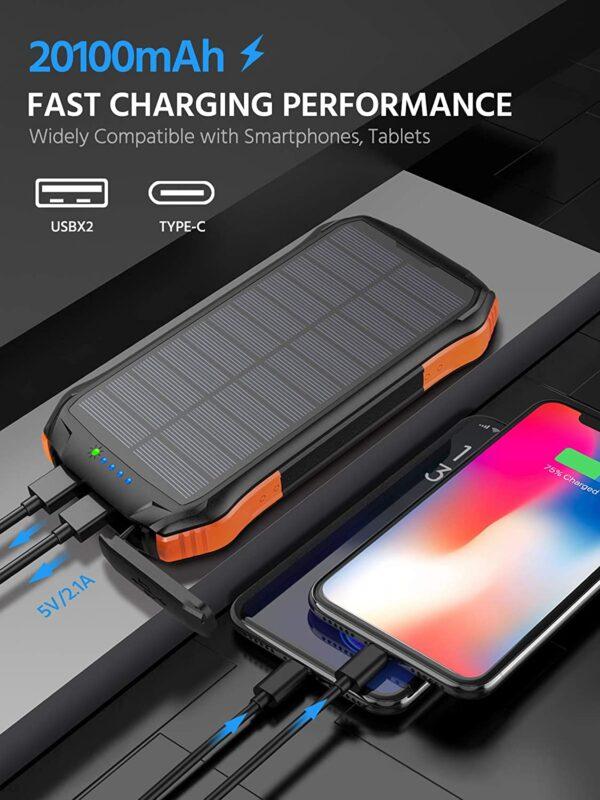 Batterie externe solaire WBPINE charge rapide