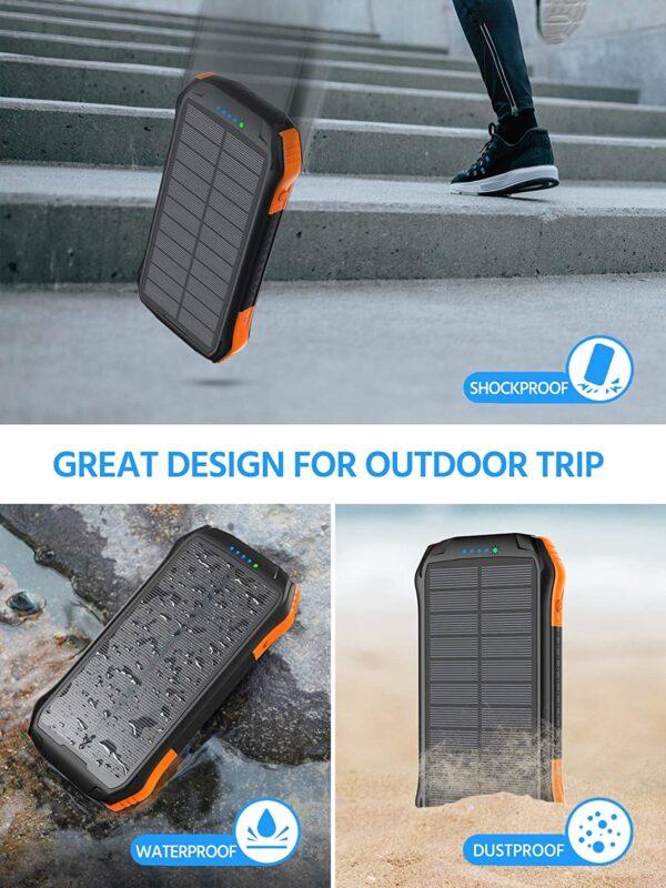 Batterie externe solaire WBPINE resistante a la poussiere