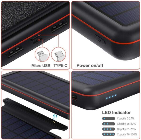 Batterie externe solaire iPosible caracteristiques