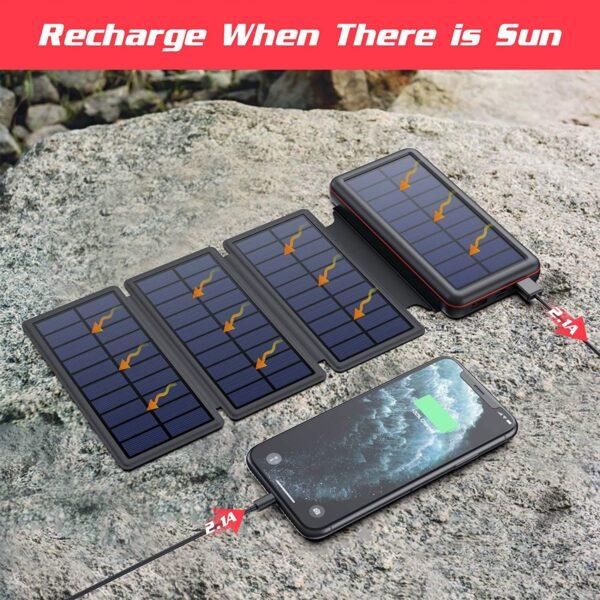 Batterie externe solaire iPosible charge avec le soleil