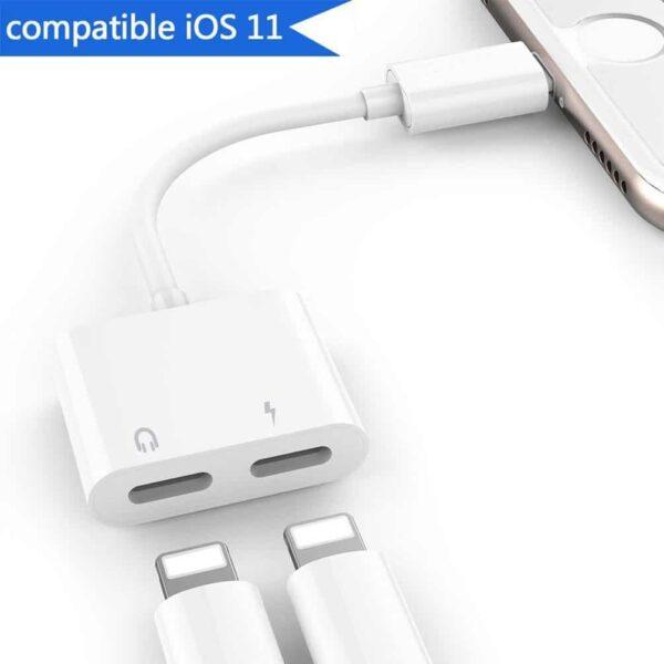 Adaptateur-2-en-1-pour-iPhone-Lightning-vers-double-Lightning-Leantuq-blanc-1