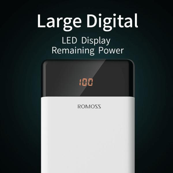 Batterie externe 20000mAh Romoss écran large